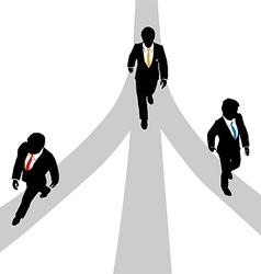 Business men walk diverge on 3 paths vector image vector image