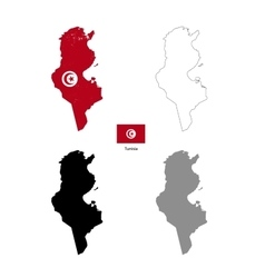Tunisia country black silhouette and with flag on vector image