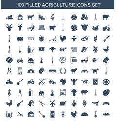 100 agriculture icons vector