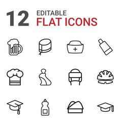 12 cap icons vector