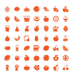 49 fruit icons vector image
