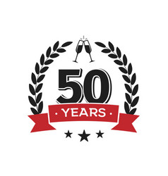 50 th birthday vintage logo template fifty years vector