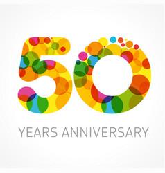 50 years anniversary circle colored logo vector