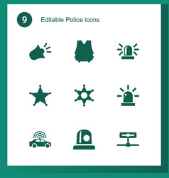 9 police icons vector image