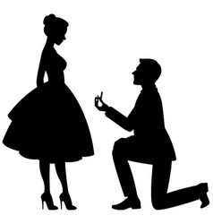 A man on his knees makes a proposal vector