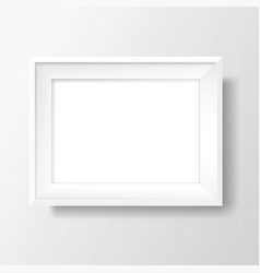 A4 blank white frame on white wall vector
