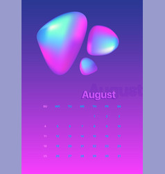Abstract minimal calendar design for 2019 august vector