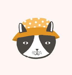 adorable face or head cat wearing bucket hat vector image
