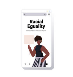 African american woman activist holding blank vector