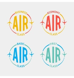 Airplane flight badges in flat style vector image