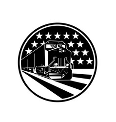 American diesel locomotive train front view with vector