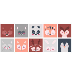 animal faces square shapes with cute animalistic vector image