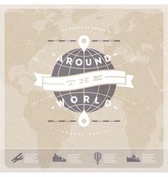 Around world travel vintage type design vector
