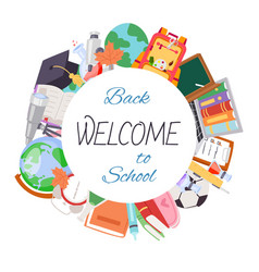 Back to school welcome poster vector