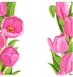 beautiful pink tulips realistic background vector image