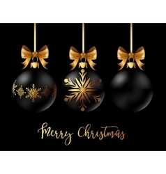 Black Christmas decoration ball with golden ribbon vector