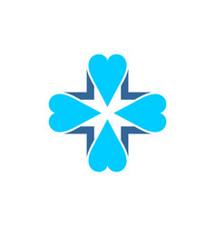Blue cross covered by four blue hearts vector