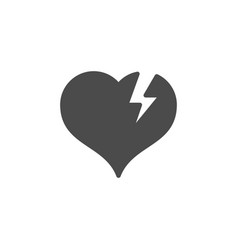 broken heart glyph icon and romance element vector image