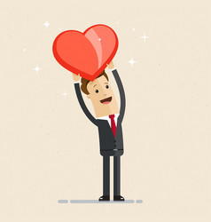 business man showing a big red heart vector image