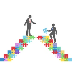 Business people join connect puzzle bridge vector
