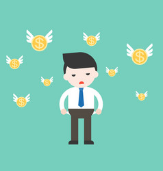 businessman has no money with flying coin vector image