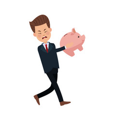 Businessman sad character holding piggy banking vector