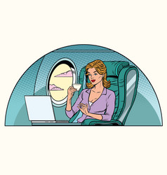 Businesswoman in business class of the aircraft vector