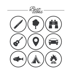 camping tourism icons fishing guitar music vector image