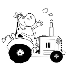 Cartoon cow on tractor vector