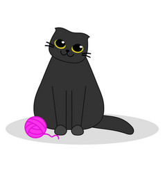 Cat with a pink ball yarn cute black kitten vector
