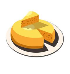 Cheese head slice lump diary milk farm product vector
