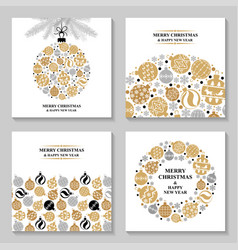 christmas greeting cards with balls set vector image