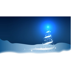 christmas tree blizzard stars snow sky night blue vector image