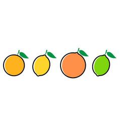 Citrus fruits icon set flat style eps10 vector