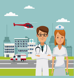city landscape scene building hospitals with vector image