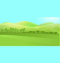 Clear landscape with green hill mountains grass vector