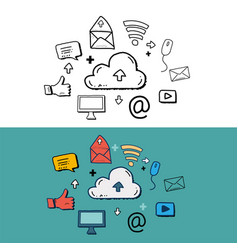 cloud computing and social media with doodle vector image