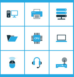 computer icons colored set with laptop wifi cpu vector image
