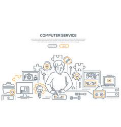 Computer service - line design style vector