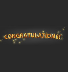 congratulations banner in gold letters with led vector image
