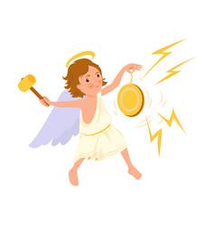 Cute angel boy play at gold musical instrument vector