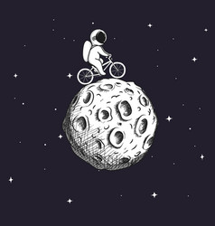 Cute astronaut rides on bicycle at moon vector