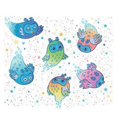 cute colorful ghost owls set children vector image