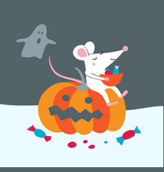 Cute rat sit on pumpkin celebrate vector