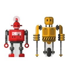 Cute vintage robot character vector
