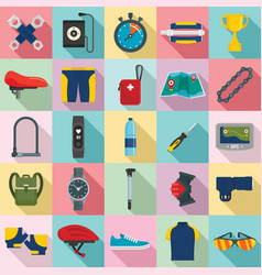 cycling equipment icons set flat style vector image