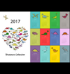 dinosaurs calendar 2017 design vector image