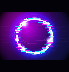 Distorted glitched glow circle frame background vector