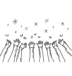 Doodle hands uphands clapping applause gestures vector