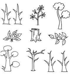 Doodle of tree set white black backgrounds vector